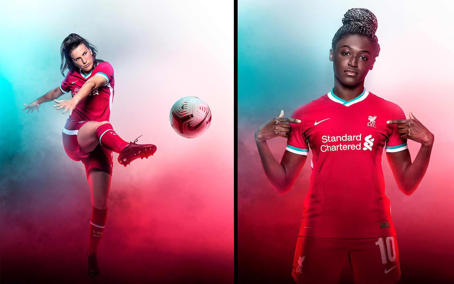 Liverpool FC Womens: Niamh Fahey & Rinsola Babajide Nike Kit 20/21: ©P Cooper