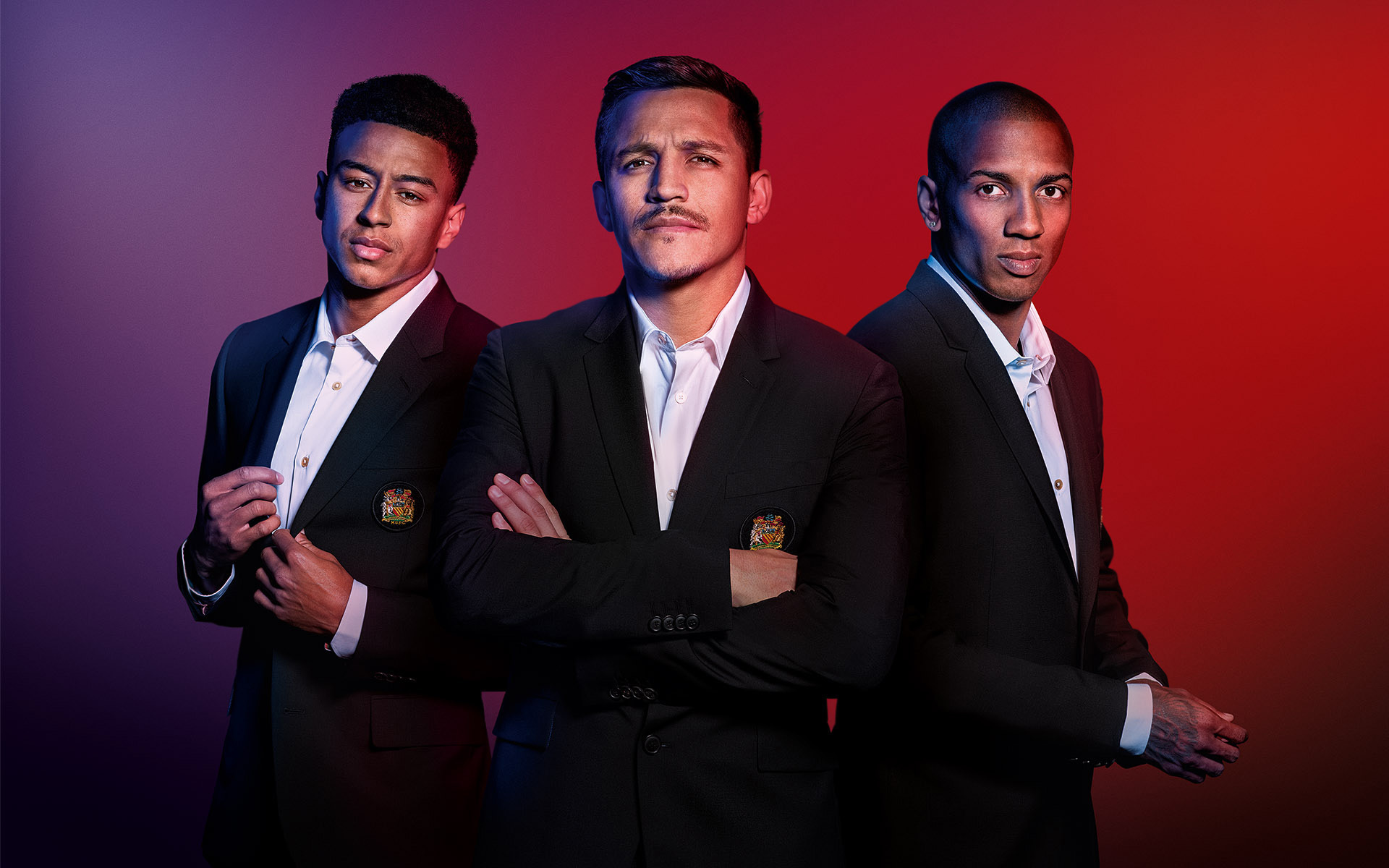 CHIVAS REGAL campaign with Manchester United. Jesse Lingard, Alexis Sanchez & Ashley Young ©P Cooper
