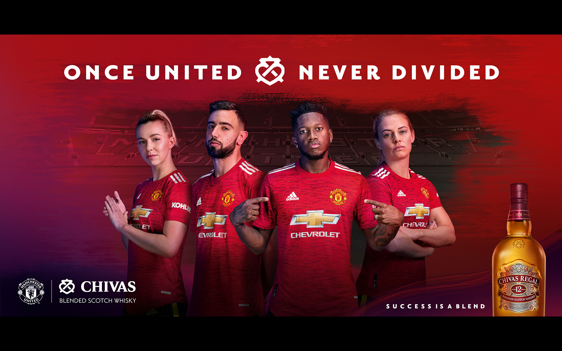 CHIVAS REGAL campaign with Manchester United. Groenen, Fernandes, Fred & Smith ©P Cooper