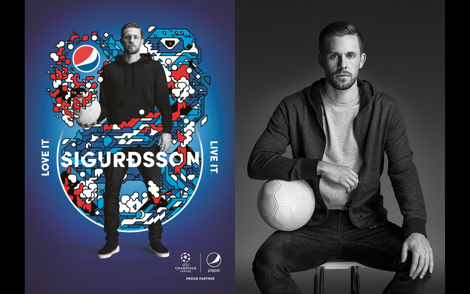 Pepsi Global Football Campaign Gylfi Sigurðsson • Photography ©Paul Cooper • Illustration Vault 49 • Retouch Paul Hill
