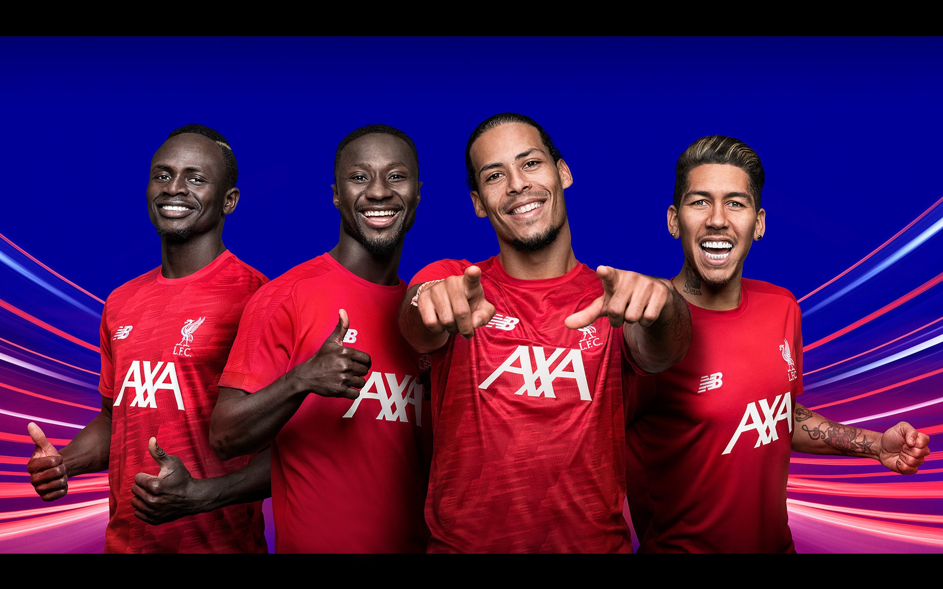 AXA Liverpool FC training kit featuring Sadio Mane, Naby Keita, Virgil Van Dijk and Roberto Firmino ©Paul Cooper